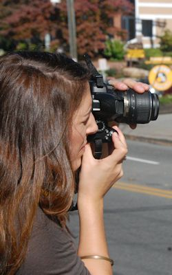Student taking photos